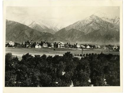 Mountains in back of Rancho San Jose, Claremont in foreground, ca. 1900, California Counties Photograph Collection
