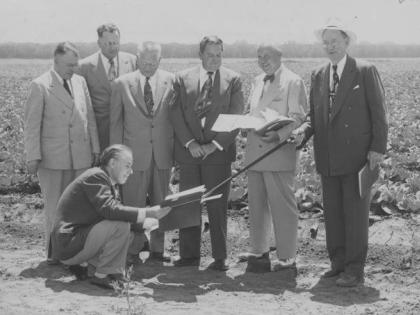 State officials check a proposed site for a public college in the San Fernando Valley, 1955, CSUN University Archives