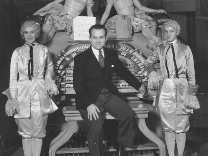 Young Frank D. Lanterman and showgirls at the State Theatre, c. 1920s