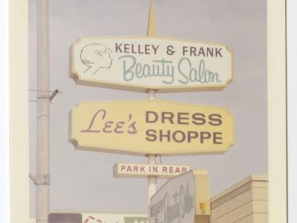 Kelly & Frank Beauty Salon, Lee's Dress Shoppe, Los Angeles, ca.1962-1972, Photographs of Business Signs in California Collection, PC 005, California Historical Society.